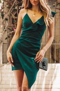 V Neck Asymmetric Hem Plain Sleeveless Bodycon Dresses