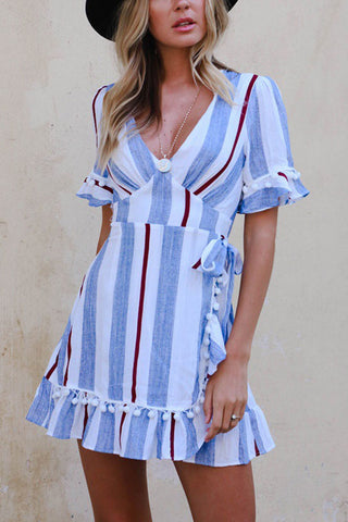 V Neck Striped Short Sleeve Bodycon Dresses