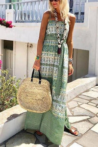 Fashion Flower Print Maxi Vacation Dress