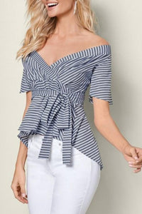 Off Shoulder Striped Blouses