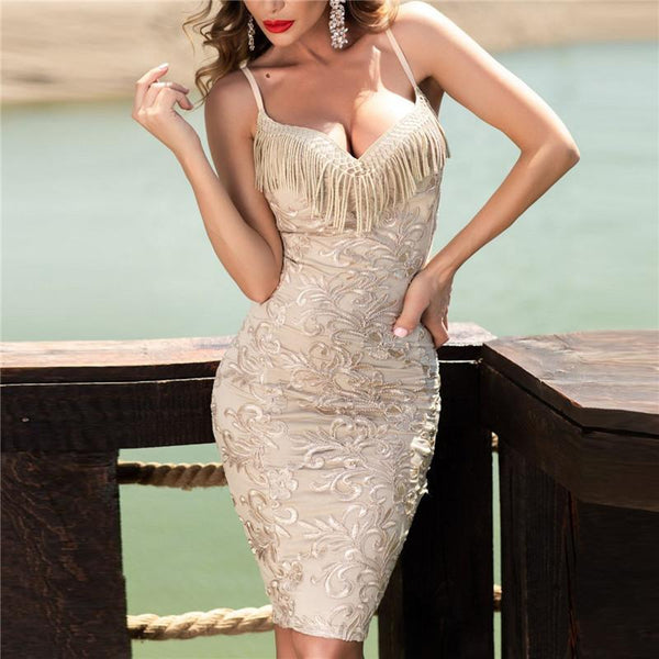 Sexy Deep V Sleeveless Fringed Sling Bodycon Dresses