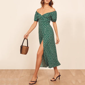 Elegant Off-Shoulder Printed Colour Split Dress
