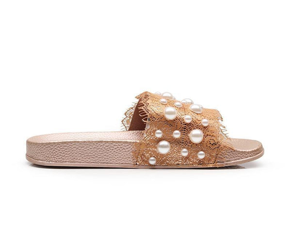 One Word With Pearl Lace Craft Sandals