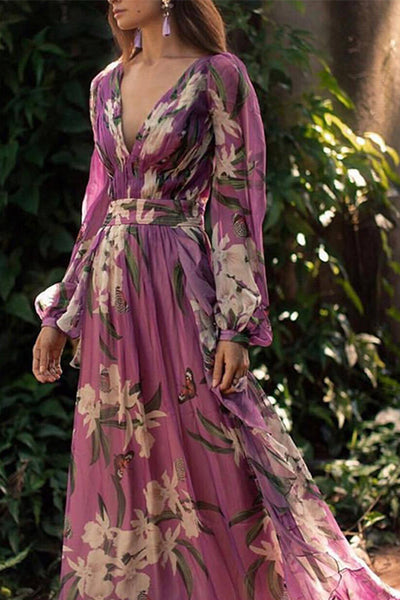 Bohemian Printed Colour V Neck Long Sleeve Pleated Dress