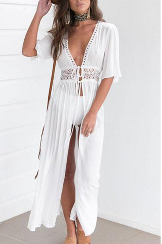 Deep V Neck  Hollow Out Plain Cover Ups