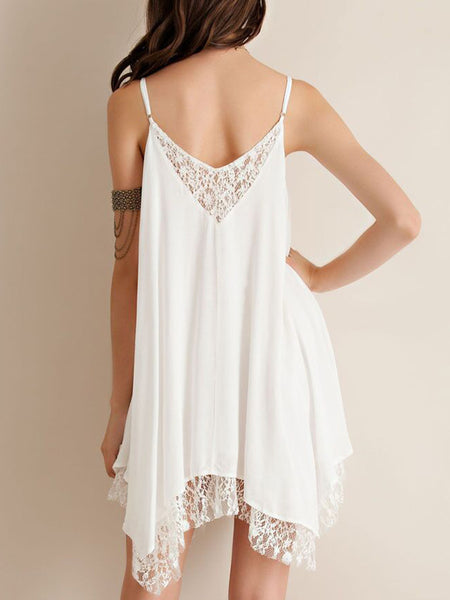 Spaghetti Strap  Decorative Lace  Plain Shift Dress