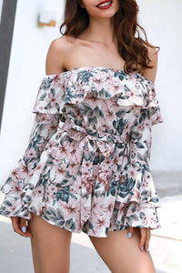 One Shoulder Floral Trumpet Sleeves Belted Rompers