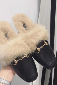 Autumn And Winter New Fashion Fox Fur Lining Home Wear Ladies Baotou Square Head Half Slippers