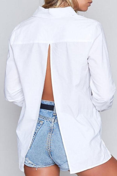 Turn Down Collar Backless Plain Blouses