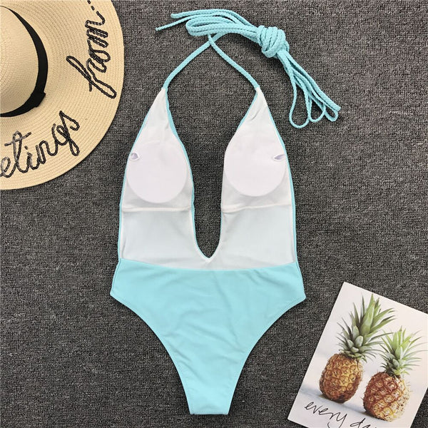 Sexy Braided Bandage One-Piece Swimsuit