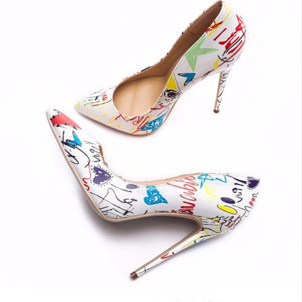 Pointed shallow mouth bold fancy high heels