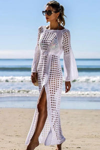 Openwork Knit Long Sleeve Split Cover Up