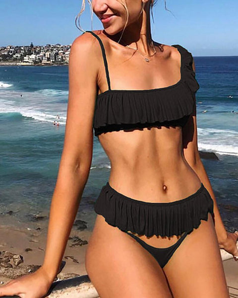 One-Shoulder Ruffled Sexy Bikini