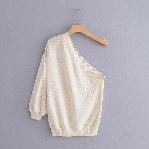 One-Shoulder Diagonal Collar Sexy Off-The-Shoulder Pullover