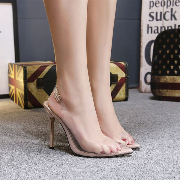 Transparent Pointed Toe Buckle Thin Heels