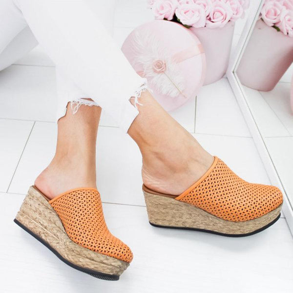 Vintage Hollow-Out Closed Toe Wedges Sandals Filler Heel Slippers