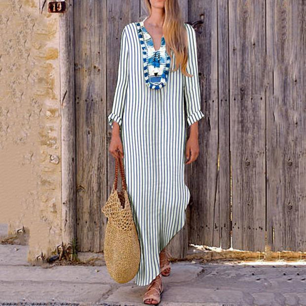 Sexy Loose Strip V Collar Long Sleeve Vacation Dress