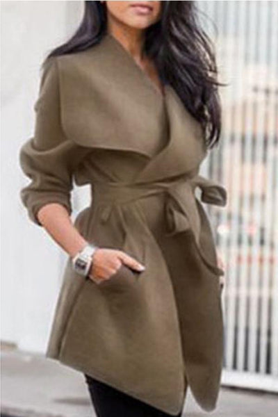 Lapel Belt Plain Long Sleeve Trench Coats