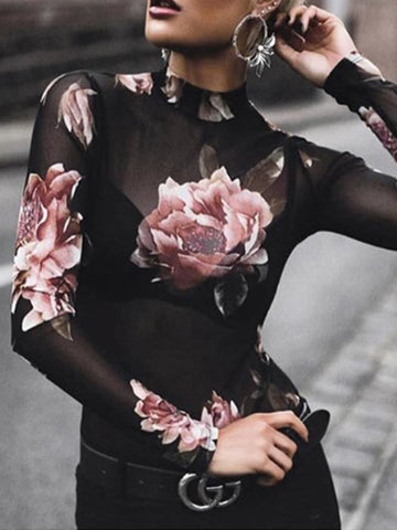 Round Neck  See-Through  Floral T-Shirts