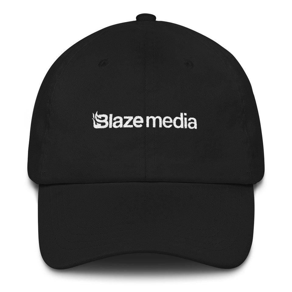 Blaze Media White Embroidered Dad Hat