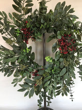 "Load image into Gallery viewer, 18"" Wreath - Eucalyptus, Red Berry"