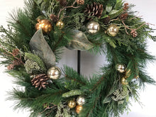 "Load image into Gallery viewer, 24"" Wreath - Gold/Silver Pomegranate & Mixed Pine"