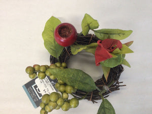 "1""Candle Ring - Berry & Mixed Foliage"