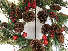 "Load image into Gallery viewer, 24"" Wreath - Red Bell, Berry, Pine"