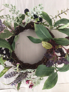 "6""Candle Ring - Foliage, Berry, Lavender"