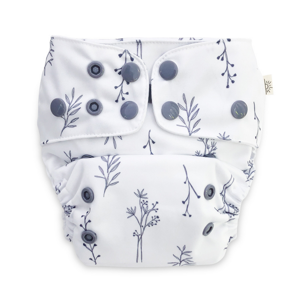 EcoNaps Folk Grey Botanical Cloth Nappy