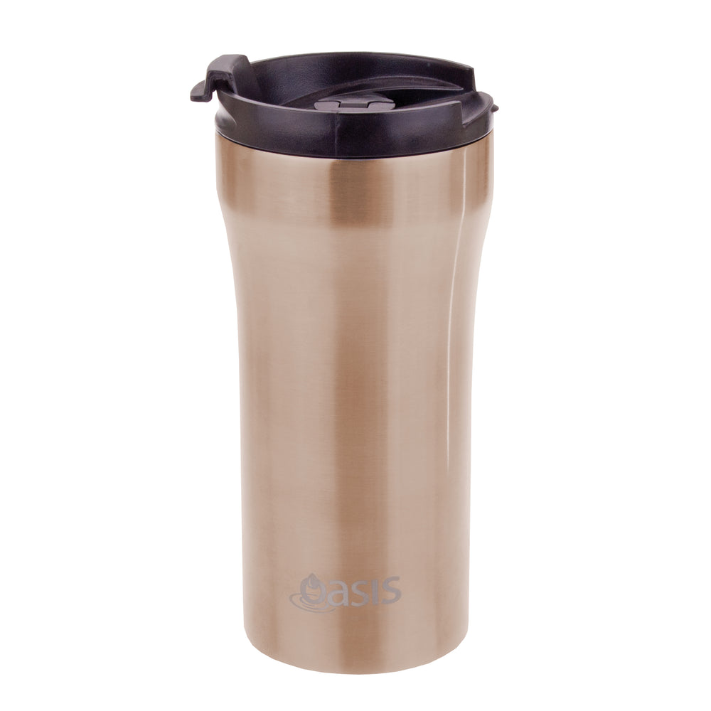 Oasis Reusable Vacuum Insulated Plunger Travel Cup - Champagne - 350ml