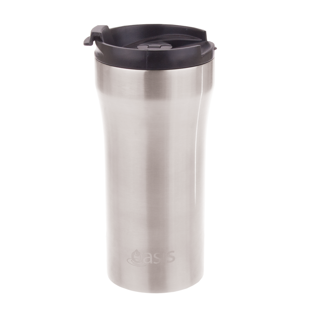Oasis Reusable Vacuum Insulated Plunger Travel Cup - Silver - 350ml
