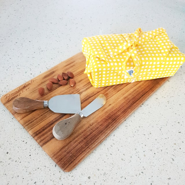 Rinse & Repeat Yellow & White Polka Dots Cheese Wrap