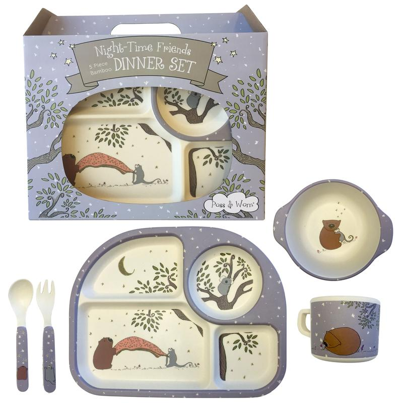 Poss & Wom 5 Piece Bamboo Dinner Set (Night Time Friends)