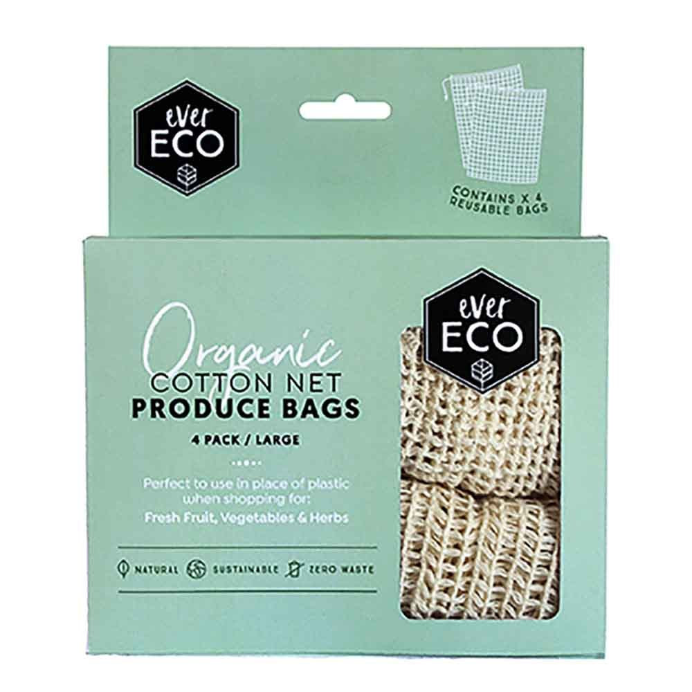Reusable Organic Cotton Net Produce Bags (4 Pack)