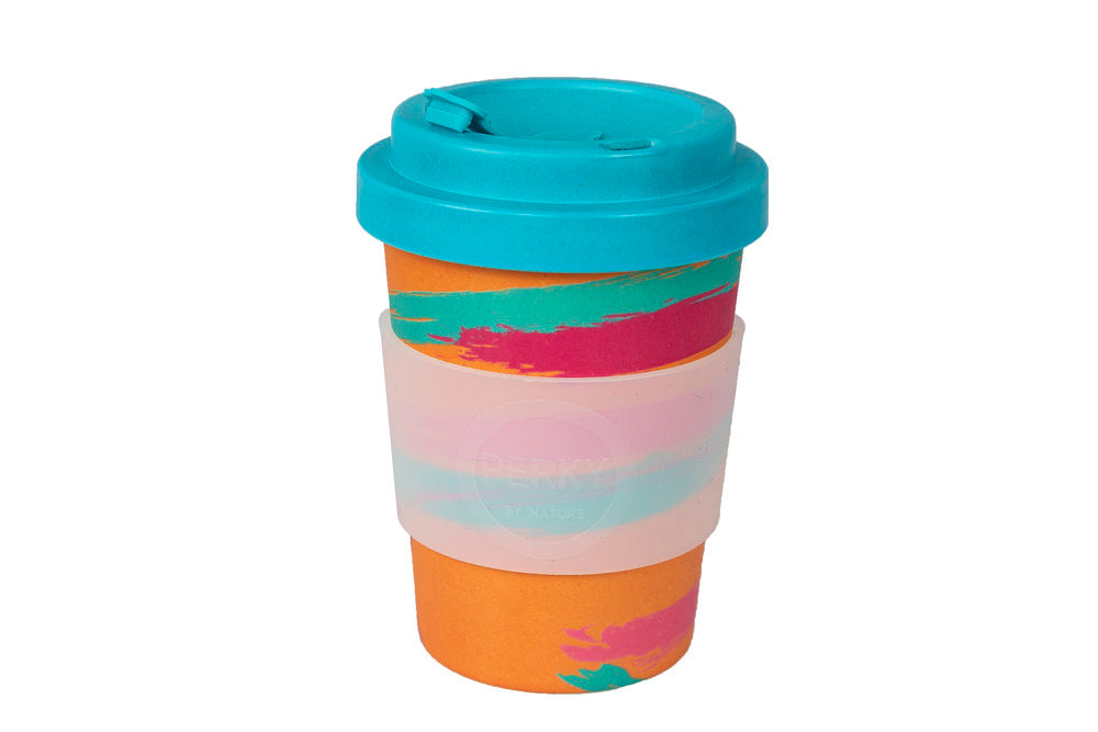 Perky By Nature Reusable Bamboo Fibre Coffee Cup - Peach/Blue - 12oz