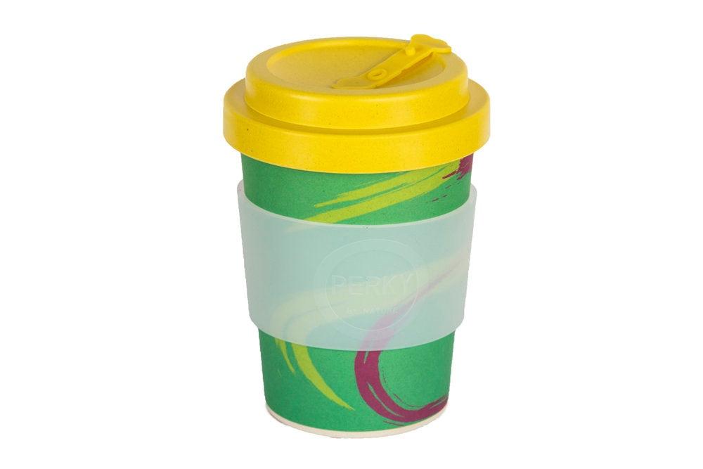 Perky By Nature Reusable Bamboo Fibre Coffee Cup - Green/Yellow - 12oz
