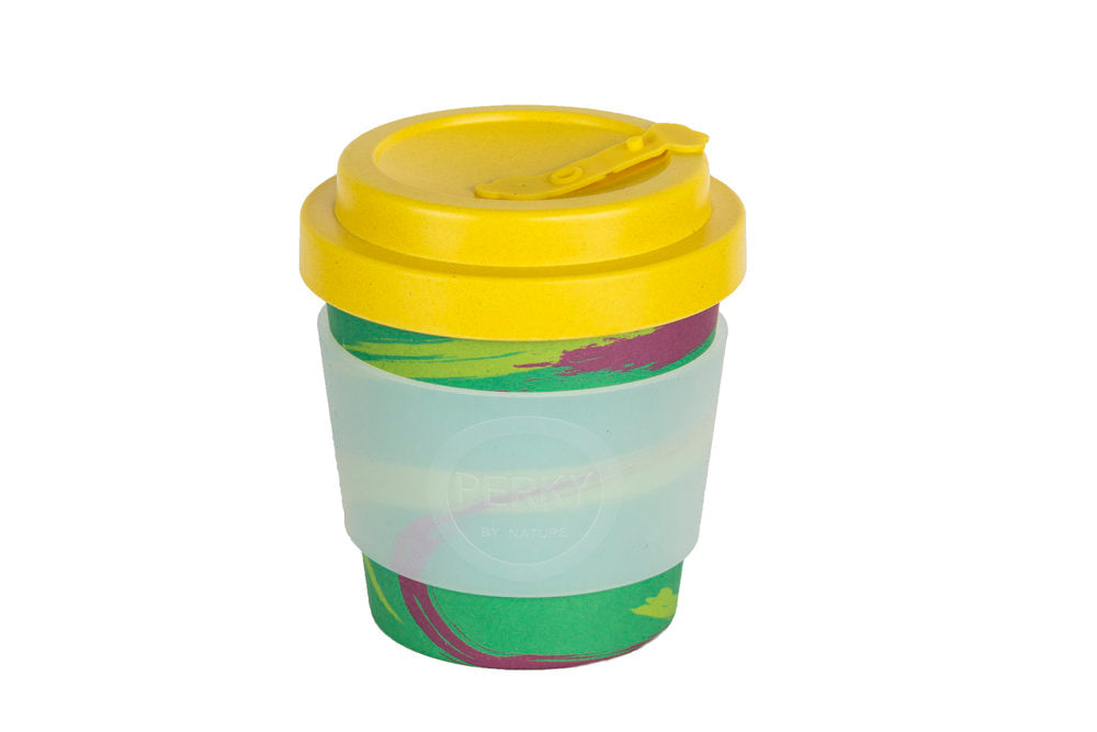 Perky By Nature Reusable Bamboo Fibre Coffee Cup - Green/Yellow - 8oz
