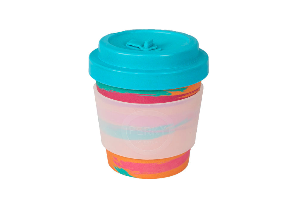 Perky By Nature Reusable Bamboo Fibre Coffee Cup - Peach/Blue - 8oz