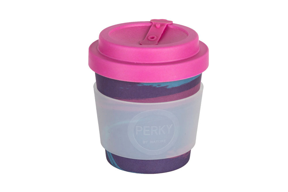 Perky By Nature Reusable Bamboo Fibre Coffee Cup - Purple/Pink - 8oz
