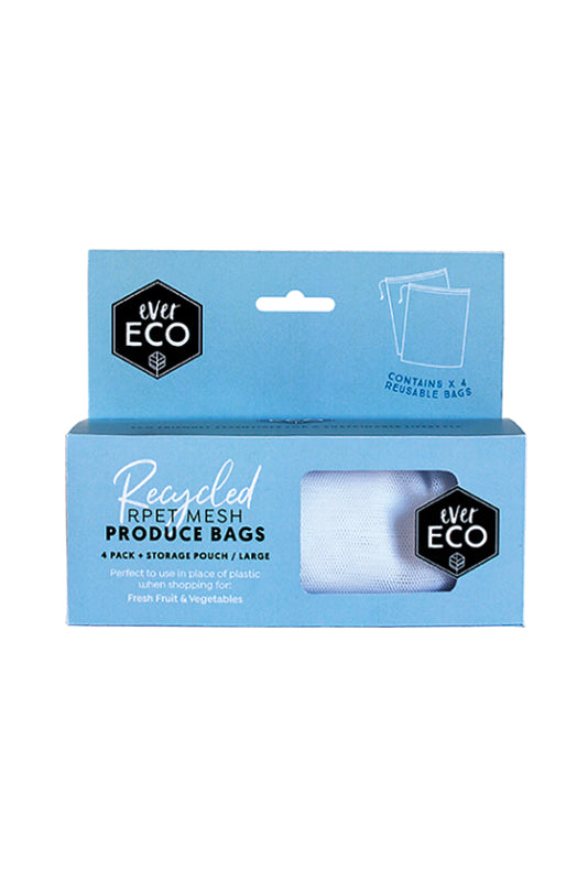 Recycled Produce Bags Mesh 4 Pack & Storage Pouch
