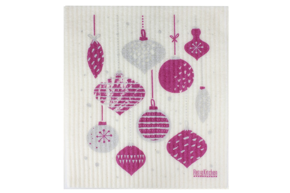 Retro Kitchen Dish Cloth - Christmas Baubles