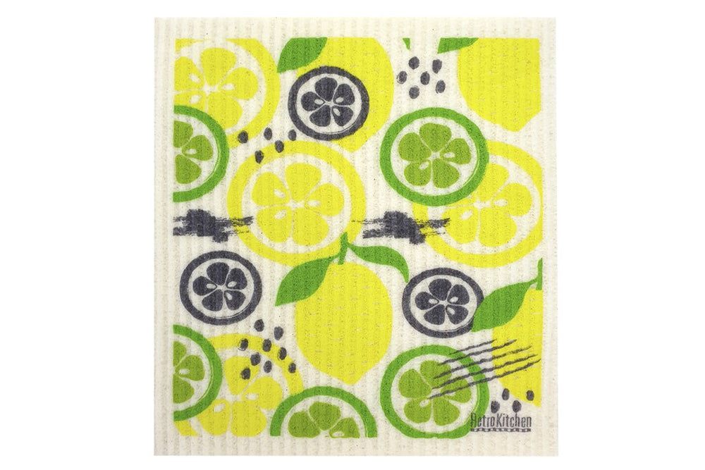 Retro Kitchen Dish Cloth - Lemon & Lime