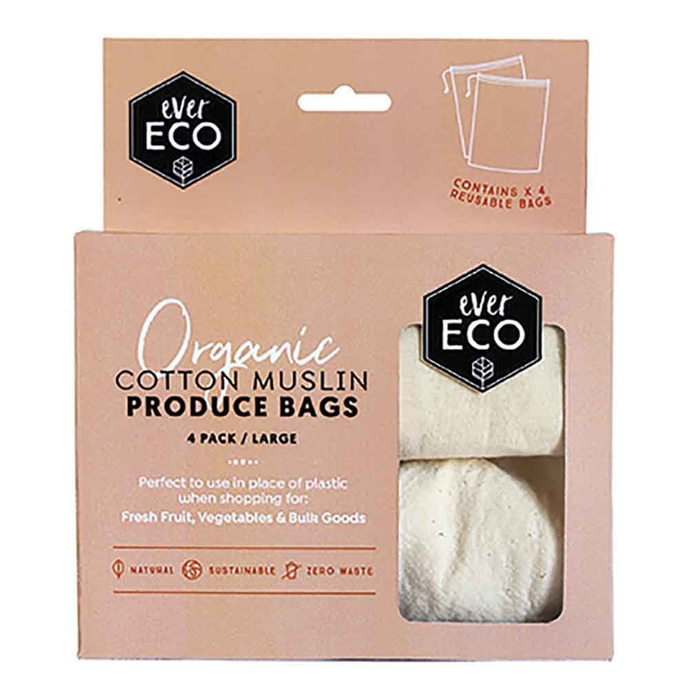 Ever Eco Reusable Produce Bags Organic Cotton Muslin 4 Pack