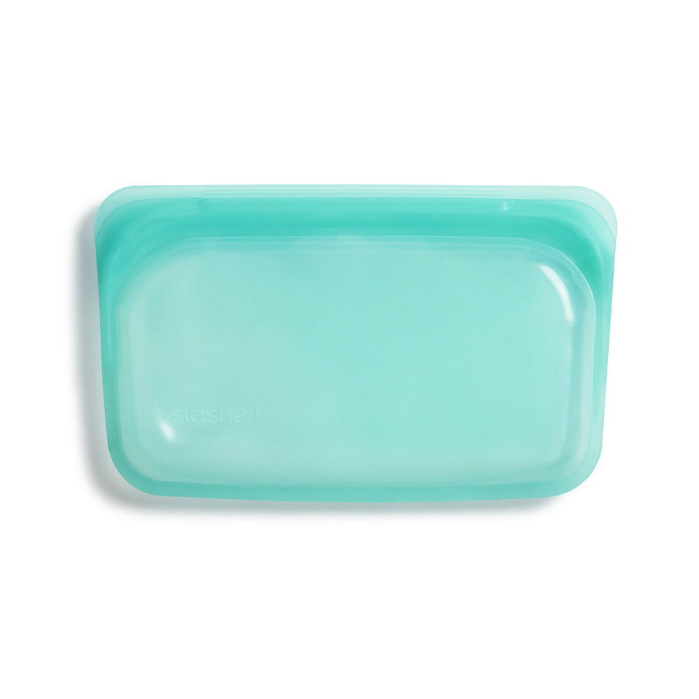 Stasher Reusable Silicone Snack Bag Aqua