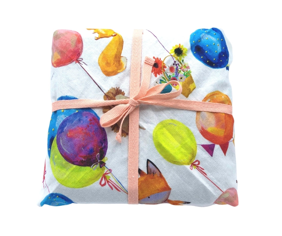 Hello Snowglobe Reusable Fabric Gift Wrap - Celebrate With Balloons