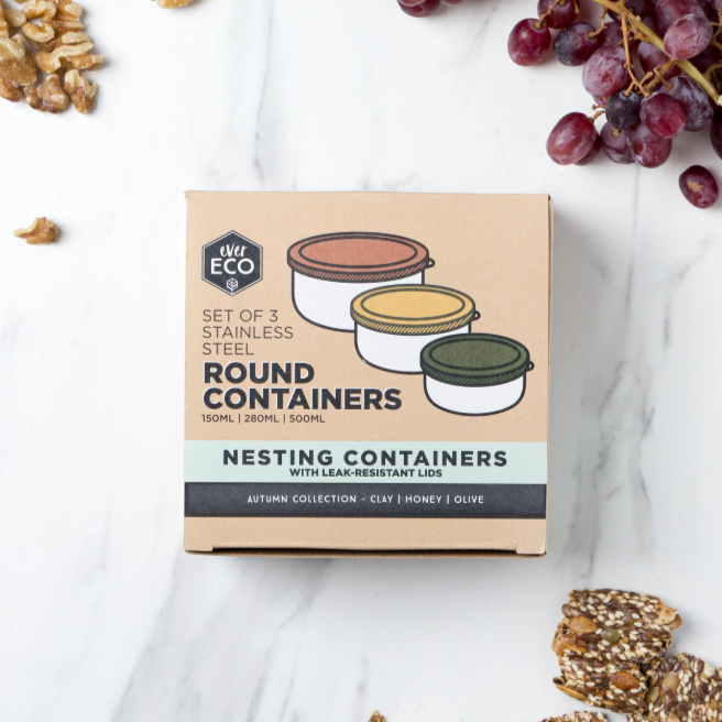 Ever Eco Round Nesting Containers - Set Of 3 - Autumn Collection