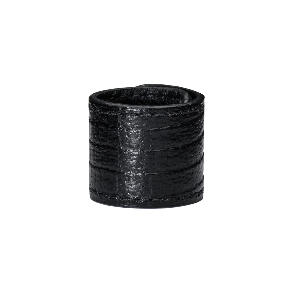 PREMIUM LIZZY BLACK - All-leather lizard-textured Hair Accessory