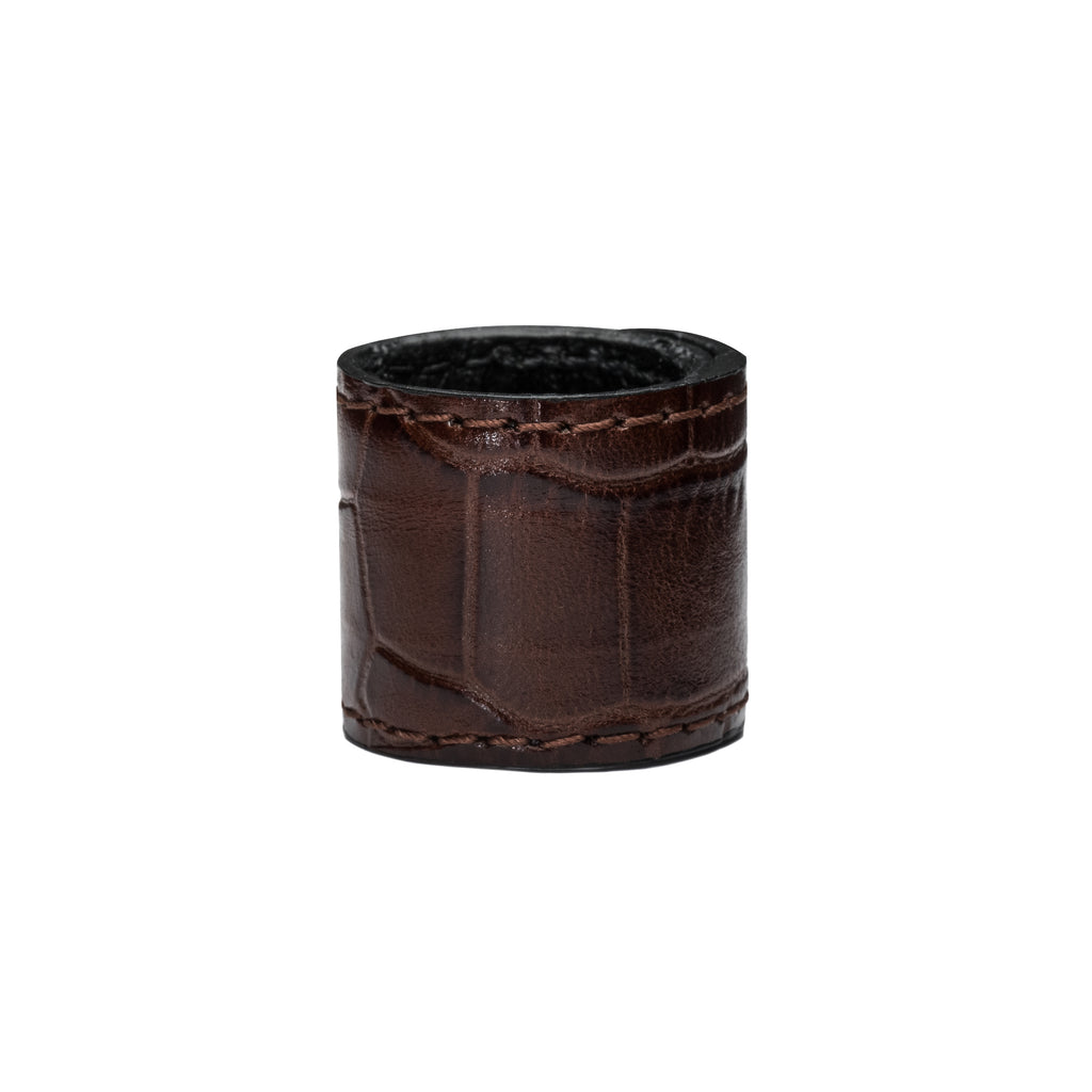 PREMIUM BROWN GATOR Leather Textured Hair cuff