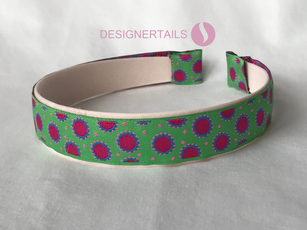 Hairband Multi Colors Green, Pink, Blue on Cream band background